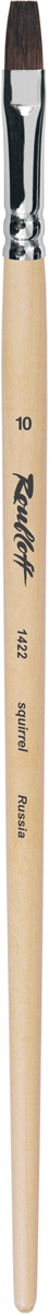 Roubloff Кисть 1422 белка плоская № 24 длинная ручкаЖБ2-24,02БКисть плоская из волоса белки на длинной лакированной деревянной ручке с хромированной обоймой серебряного цвета.