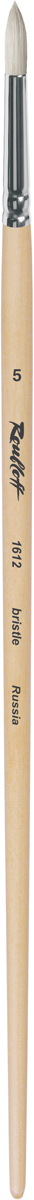 Roubloff Кисть 1612 щетина круглая № 5 длинная ручкаЖЩ1-05,02БКисть круглая из волоса щетины на короткой лакированной деревянной ручке с алюминиевой обоймой.