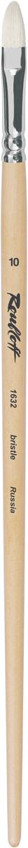 Roubloff Кисть 1632 щетина овальная № 16 длинная ручкаЖЩ3-16,02БКисть овальная из волоса щетины на длинной лакированной деревянной ручке с алюминиевой обоймой.