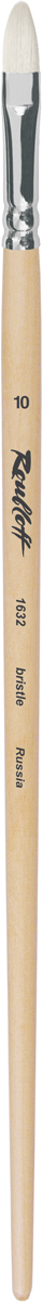 Roubloff Кисть 1632 щетина овальная № 22 длинная ручкаЖЩ3-22,02БКисть овальная из волоса щетины на длинной лакированной деревянной ручке с алюминиевой обоймой.