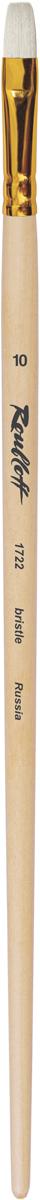 Roubloff Кисть 1722 щетина плоская № 10 длинная ручкаЖЩ2-10,02ЖКисть плоская из волоса щетины на длинной лакированной деревянной ручке с алиминиевой обоймой золотого цвета.