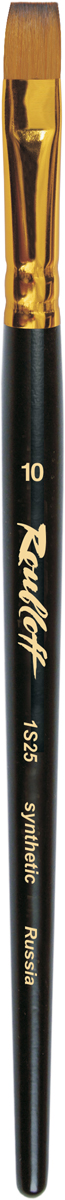 Roubloff Кисть 1S25 синтетика плоская № 3 короткая ручкаЖS2-03,05ЖКисть плоская с уороченной вставкой из синтетики средней жесткости под колонок на короткой черной матовой ручке с алюминиевой обоймой золотого цвета.