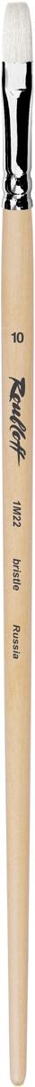 Roubloff Кисть 1M22 синтетика и щетина плоская № 10 длинная ручкаЖМ2-10,02БКисть плоская, жесткая из смеси щетины и синтетики на длинной лакированной деревянной ручке с хромированной обоймой серебряного цвета.