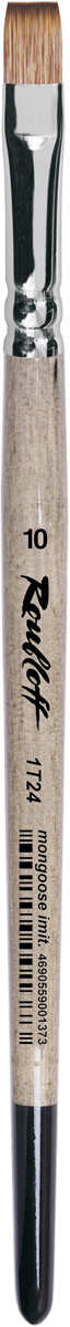 Roubloff Кисть 1T24 синтетика плоская № 20 короткая ручкаЖТ2-20,04БКисть плоская, мягкая с укороченной вставкой из имитации мангуста на короткой глянцевой пестрой ручке с хромированной обоймой серебряного цвета.