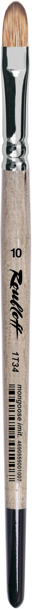 Roubloff Кисть 1T34 синтетика овальная № 12 короткая ручкаЖТ3-12,04БКисть овальная, мягкая с укороченной вставкой из имитации мангуста на короткой глянцевой пестрой ручке с хромированной обоймой серебряного цвета.