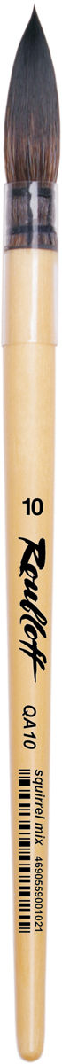Roubloff Кисть QA10 белка круглая № 10ЖА1-10,00ПКисть круглая, очень мягкая, из волоса белки микс на короткой лакированной деревяной ручке с пластиковой прозрачной обоймой.