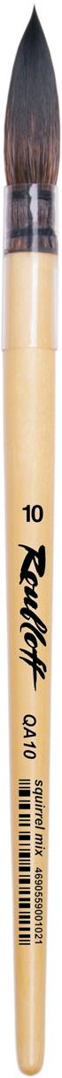 Roubloff Кисть QA10 белка круглая № 12ЖА1-12,00ПКисть круглая, очень мягкая, из волоса белки микс на короткой лакированной деревяной ручке с пластиковой прозрачной обоймой.