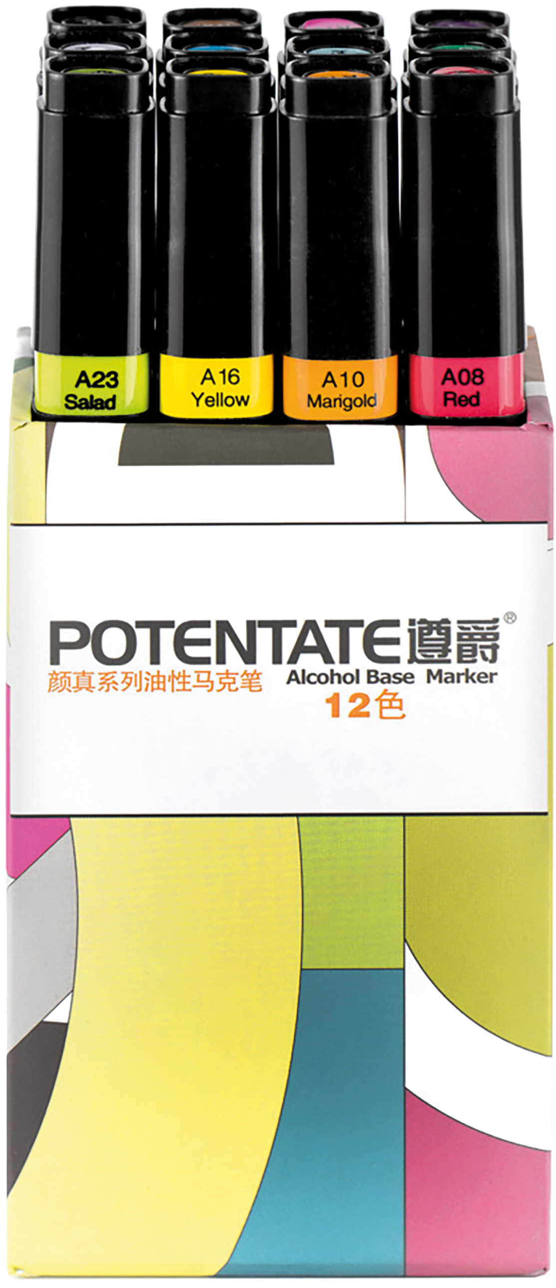 """Potentate Набор маркеров Box Set 12 цветов010107Спиртовые маркеры Potentate обладают всеми необходимыми качествами для рисования скетчей на любую тематику. Широкая цветовая палитра дает возможность прорабатывать переходы между оттенками. Каждый маркер имеет два пера: тонкое для прорисовки мелких деталей и широкое-долото для закрашивания больших поверхностей. Плотно закрывающийся колпачок предохраняет маркер от высыхания, а цветовая полоска на корпусе маркера соответствует цвету выкраски и позволяет легко ориентироваться при подборе палитры. Маркеры быстро высыхают на бумаге. Под маркой POTENTATE доступны маркеры поштучно и в наборах от 12 до 120 цветов. Маркеры подойдут для тех, кто хочет рисовать много и нарабатывать навыки скетчинга без ограничений в средствах. В отличие от большинства китайских OEM маркеров на заказ для европейцев, маркеры POTENTATE являются """"родным"""" брендом крупнейшего производителя маркеров в Китае и им уделяется больше внимания по качеству продукции собственной марки. В наборе 12 цветов: А120, А87, А76, А71, А66, А55, А54, А40, А08, А10, А16, А23. Основные характеристики: - палитра 120 цветов; - два пера: тонкое и широкое-долото - удобный квадратный корпус, маркеры на скатываются по столу; - индикатор цвета на корпусе маркера и колпачке; - спиртовые, быстро высыхают на бумаге; - низкий расход чернил; - прозрачные цвета для проработки переходов; - блендер для размывок и эффектов;"""