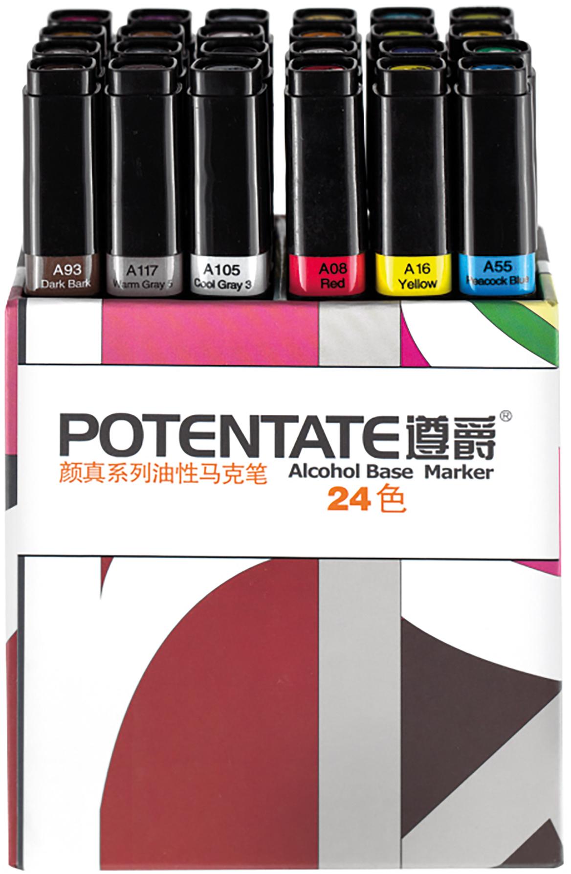 """Potentate Набор маркеров Box Set 24 цвета010108Спиртовые маркеры Potentate обладают всеми необходимыми качествами для рисования скетчей на любую тематику. Широкая цветовая палитра дает возможность прорабатывать переходы между оттенками. Каждый маркер имеет два пера: тонкое для прорисовки мелких деталей и широкое-долото для закрашивания больших поверхностей. Плотно закрывающийся колпачок предохраняет маркер от высыхания, а цветовая полоска на корпусе маркера соответствует цвету выкраски и позволяет легко ориентироваться при подборе палитры. Маркеры быстро высыхают на бумаге. Под маркой POTENTATE доступны маркеры поштучно и в наборах от 12 до 120 цветов. Маркеры подойдут для тех, кто хочет рисовать много и нарабатывать навыки скетчинга без ограничений в средствах. В отличие от большинства китайских OEM маркеров на заказ для европейцев, маркеры POTENTATE являются """"родным"""" брендом крупнейшего производителя маркеров в Китае и им уделяется больше внимания по качеству продукции собственной марки. В наборе 24 цвета: А99, А105, А107, А115, А117, А120, А66, А71, А73, А76, А87, А93, А21, А23, А40, А54, А55, А58, А05, А08, А10, А12, А16, А17. Основные характеристики: - палитра 120 цветов; - два пера: тонкое и широкое-долото - удобный квадратный корпус, маркеры на скатываются по столу; - индикатор цвета на корпусе маркера и колпачке; - спиртовые, быстро высыхают на бумаге; - низкий расход чернил; - прозрачные цвета для проработки переходов; - блендер для размывок и эффектов;"""