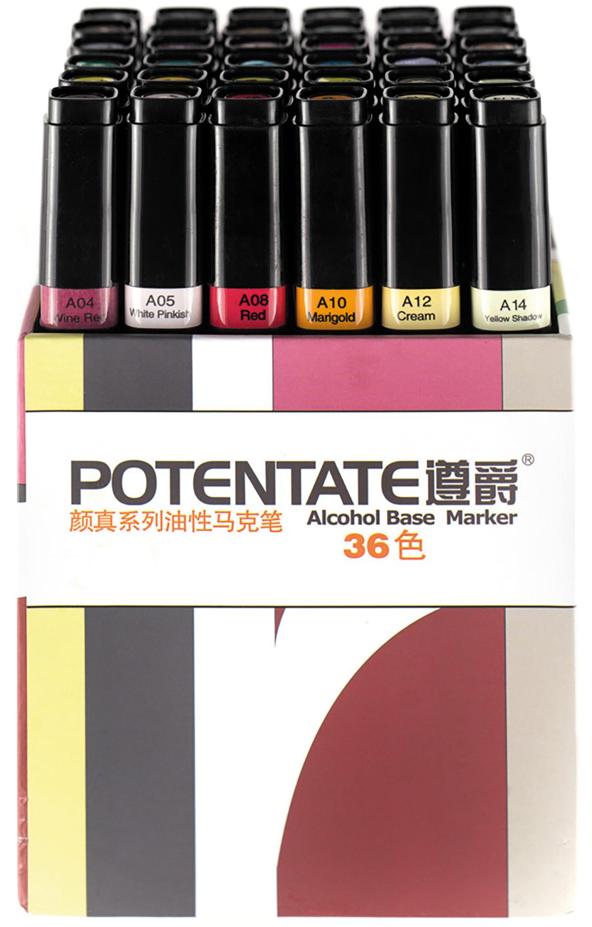 """Potentate Набор маркеров Box Set 36 цветов010109Спиртовые маркеры Potentate обладают всеми необходимыми качествами для рисования скетчей на любую тематику. Широкая цветовая палитра дает возможность прорабатывать переходы между оттенками. Каждый маркер имеет два пера: тонкое для прорисовки мелких деталей и широкое-долото для закрашивания больших поверхностей. Плотно закрывающийся колпачок предохраняет маркер от высыхания, а цветовая полоска на корпусе маркера соответствует цвету выкраски и позволяет легко ориентироваться при подборе палитры. Маркеры быстро высыхают на бумаге. Под маркой POTENTATE доступны маркеры поштучно и в наборах от 12 до 120 цветов. Маркеры подойдут для тех, кто хочет рисовать много и нарабатывать навыки скетчинга без ограничений в средствах. В отличие от большинства китайских OEM маркеров на заказ для европейцев, маркеры POTENTATE являются """"родным"""" брендом крупнейшего производителя маркеров в Китае и им уделяется больше внимания по качеству продукции собственной марки. В наборе 36 цветов: А107, А111, А112, А115, А117, А120, А16, А17, А21, А87, А93, А99, А100, А101, А105, А04, А05, А08, А66, А71, А73, А76, А80, А86, А23, А30, А34, А40, А50, А54, А55, А58, А59, А10, А12, А14. Основные характеристики: - палитра 120 цветов; - два пера: тонкое и широкое-долото - удобный квадратный корпус, маркеры на скатываются по столу; - индикатор цвета на корпусе маркера и колпачке; - спиртовые, быстро высыхают на бумаге; - низкий расход чернил; - прозрачные цвета для проработки переходов; - блендер для размывок и эффектов;"""