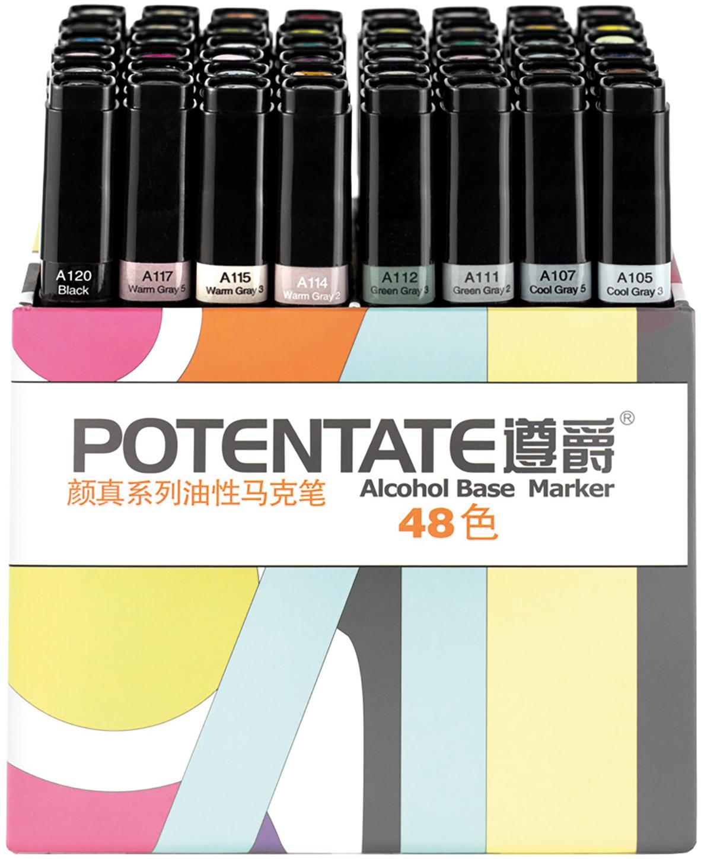 """Potentate Набор маркеров Box Set 48 цветов010110Спиртовые маркеры Potentate обладают всеми необходимыми качествами для рисования скетчей на любую тематику. Широкая цветовая палитра дает возможность прорабатывать переходы между оттенками. Каждый маркер имеет два пера: тонкое для прорисовки мелких деталей и широкое-долото для закрашивания больших поверхностей. Плотно закрывающийся колпачок предохраняет маркер от высыхания, а цветовая полоска на корпусе маркера соответствует цвету выкраски и позволяет легко ориентироваться при подборе палитры. Маркеры быстро высыхают на бумаге. Под маркой POTENTATE доступны маркеры поштучно и в наборах от 12 до 120 цветов. Маркеры подойдут для тех, кто хочет рисовать много и нарабатывать навыки скетчинга без ограничений в средствах. В отличие от большинства китайских OEM маркеров на заказ для европейцев, маркеры POTENTATE являются """"родным"""" брендом крупнейшего производителя маркеров в Китае и им уделяется больше внимания по качеству продукции собственной марки. В наборе 48 цветов: А105, А107, А111, А112, А114, А115, А117, А120, А16, А17, А20, А21, А86, А87, А93, А95, А99, А100, А101, А104, А01, А04, А05, А06, А58, А59, А64, А66, А71, А72, А76, А80, А23, А26, А28, А30, А34, А37, А40, А43, А50, А52, А54, А55, А08, А10, А12, А14. Основные характеристики: - палитра 120 цветов; - два пера: тонкое и широкое-долото - удобный квадратный корпус, маркеры на скатываются по столу; - индикатор цвета на корпусе маркера и колпачке; - спиртовые, быстро высыхают на бумаге; - низкий расход чернил; - прозрачные цвета для проработки переходов; - блендер для размывок и эффектов;"""