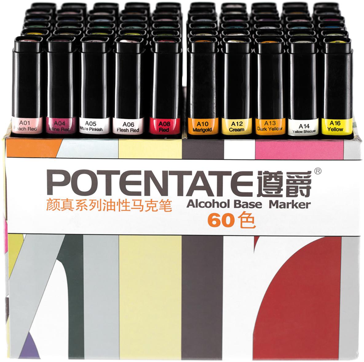 """Potentate Набор маркеров Box Set 60 цветов010111Спиртовые маркеры Potentate обладают всеми необходимыми качествами для рисования скетчей на любую тематику. Широкая цветовая палитра дает возможность прорабатывать переходы между оттенками. Каждый маркер имеет два пера: тонкое для прорисовки мелких деталей и широкое-долото для закрашивания больших поверхностей. Плотно закрывающийся колпачок предохраняет маркер от высыхания, а цветовая полоска на корпусе маркера соответствует цвету выкраски и позволяет легко ориентироваться при подборе палитры. Маркеры быстро высыхают на бумаге. Под маркой POTENTATE доступны маркеры поштучно и в наборах от 12 до 120 цветов. Маркеры подойдут для тех, кто хочет рисовать много и нарабатывать навыки скетчинга без ограничений в средствах. В отличие от большинства китайских OEM маркеров на заказ для европейцев, маркеры POTENTATE являются """"родным"""" брендом крупнейшего производителя маркеров в Китае и им уделяется больше внимания по качеству продукции собственной марки. В наборе 60 цветов: А100, А101, А104, А105, А107, А111, А112, А114, А115, А17, А120, А05, А78, А80, А82, А86, А87, А93, А95, А96, А99, А01, А04, А08, А56, А58, А59, А61, А64, А66, А69, А71, А73, А76, А12, А13, А35, А37, А40, А43, А44, А46, А50, А52, А54, А55, А30, А31, А17, А20, А21, А23, А26, А28, А29, А16, А06, А34, А14, А10. Основные характеристики: - палитра 120 цветов; - два пера: тонкое и широкое-долото - удобный квадратный корпус, маркеры на скатываются по столу; - индикатор цвета на корпусе маркера и колпачке; - спиртовые, быстро высыхают на бумаге; - низкий расход чернил; - прозрачные цвета для проработки переходов; - блендер для размывок и эффектов;"""