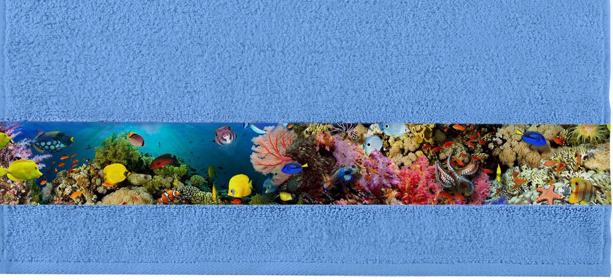 Полотенце банное Aquarelle Фотобордюр. Подводный мир, цвет: синий, 70 х 140 см. 712588 полотенце aquarelle бостон 1 цвет белый маренго 70 х 140 см