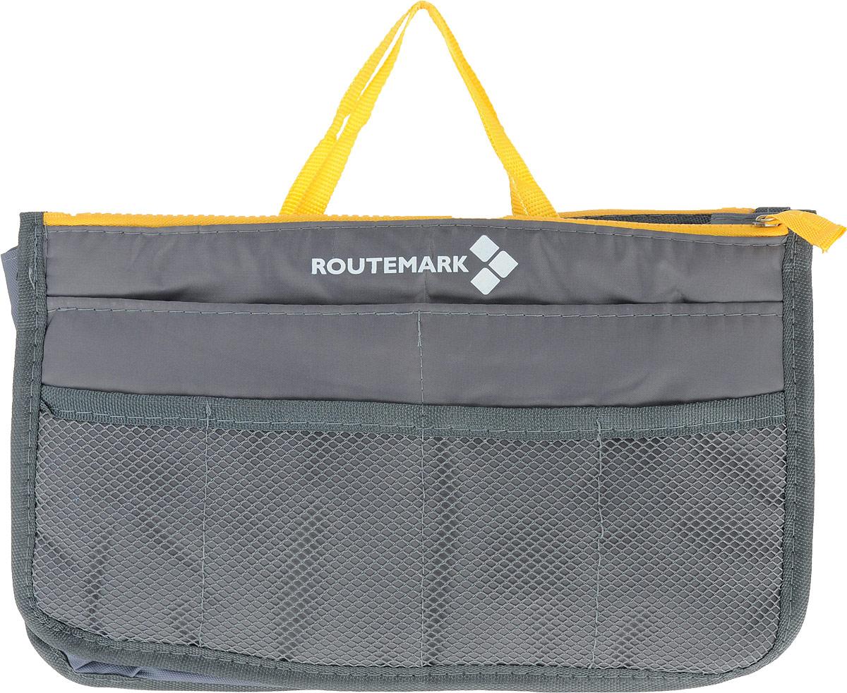 Органайзер для сумки Routemark, цвет: серый, 27 х 16 см1784Практичный органайзер для сумки Routemark, имеющий компактные размеры и стильный дизайн, позволит навести порядок и положить все вещи на свои места. Это умное решение, которое вы непременно оцените после первого же использования. У каждой мелочи будет свое место. Возможности сумки не столь широки, а вот органайзер вполне с этим справится. Ведь у этого практичного аксессуара, выполненного из высококачественного материала, сразу 12 кармашков различных размеров. Вы с легкостью уберете телефон, косметичку, маникюрный набор, заколки, косметику.