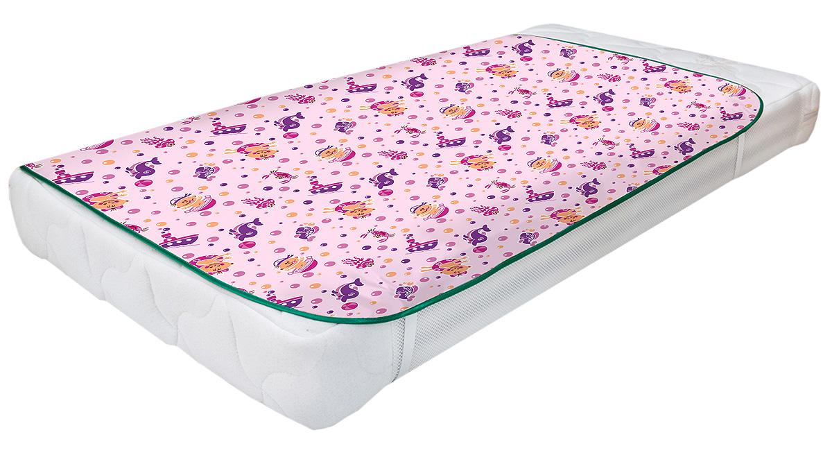 Колорит Клеенка подкладная с резинками-держателями для детских колясок цвет розовый 50 x 70 см