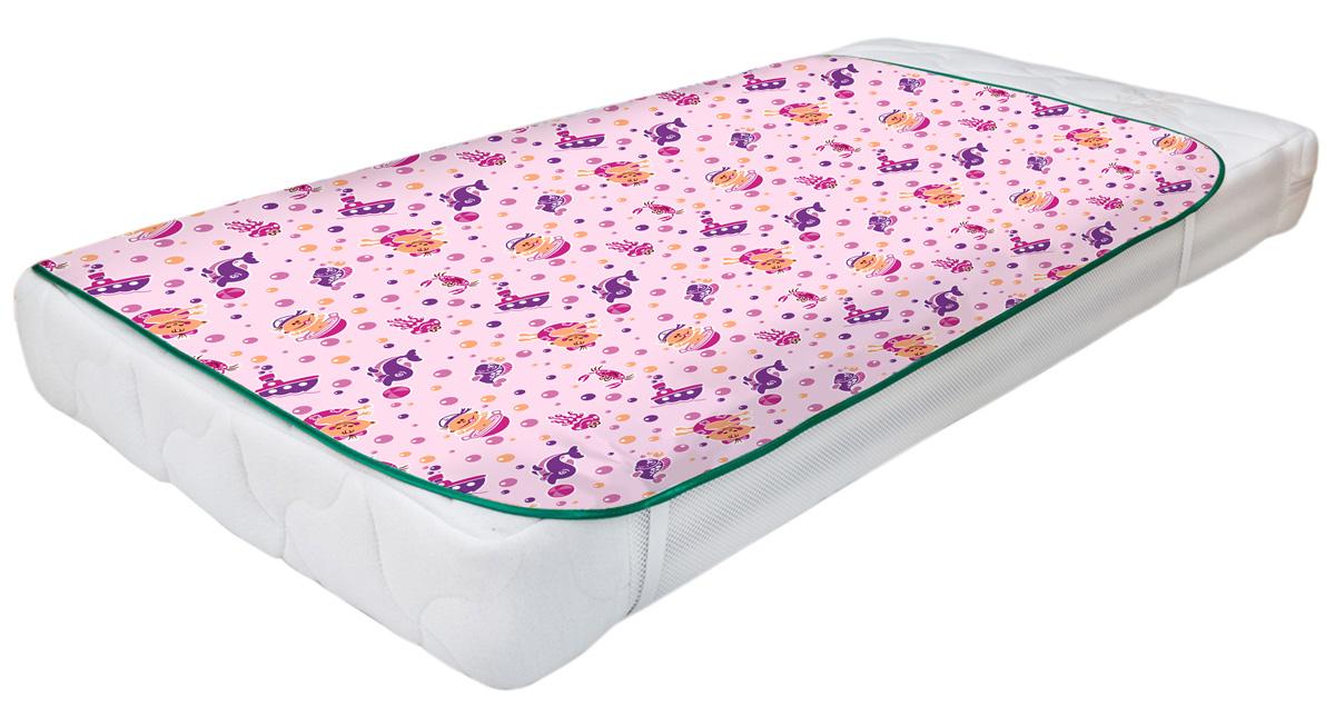 Колорит Клеенка подкладная с резинками-держателями для детских колясок цвет розовый 60 x 120 см