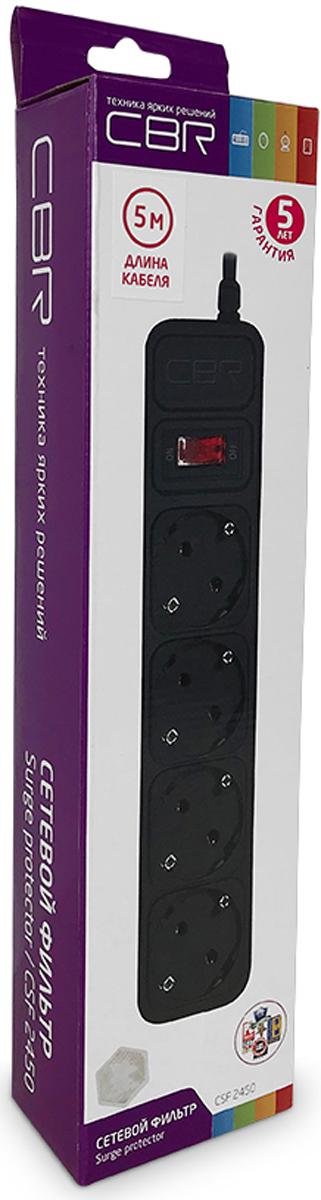 CBR CSF 2450-5.0 CB, Black сетевой фильтрCSF 2450-5.0 Black CBСетевой фильтр CBR CSF 2450-5.0 CB на 4 розетки будет прекрасным защитником вашей техники от внезапных перепадов напряжения в сети и связанных с этим поломок. С этим сетевым фильтром вы можете не беспокоиться о возможности возникновения пожара вследствие перепадов напряжения, потому что всю мощь электроудара возьмет на себя предохранитель этого фильтра, а сам корпус изготовлен из негорючего пластика. Контакты и силовой кабель сделаны из прочных материалов, что дает стойкость к окислению и нагреванию, обеспечивая высокую и стабильную проводимость тока. Помимо основных функций, сетевой фильтр может использоваться в качестве удлинителя за счет своего длинного сетевого кабеля. Также предусмотрена возможность крепления фильтра на стену.
