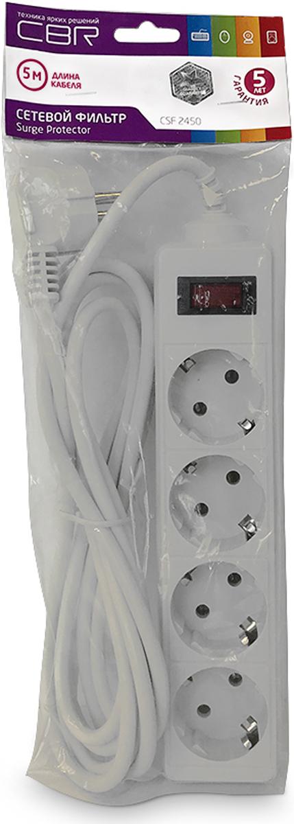 CBR CSF 2450-5.0 PC, White сетевой фильтрCSF 2450-5.0 White PCСетевой фильтр CBR CSF 2450на 4розетки будет прекрасным защитником вашей техники отвнезапных перепадов напряжения всети исвязанных сэтим поломок. Сэтим сетевым фильтром выможете небеспокоиться овозможности возникновения пожара вследствие перепадов напряжения, потому что всю мощь электроудара возьмет насебя предохранитель этого фильтра, асам корпус изготовлен изнегорючего пластика. Контакты исиловой кабель сделаны изпрочных материалов, что дает стойкость кокислению инагреванию, обеспечивая высокую истабильную проводимость тока. Помимо основных функций, сетевой фильтр может использоваться вкачестве удлинителя засчет своего длинного сетевого кабеля. Также предусмотрена возможность крепления фильтра настену.