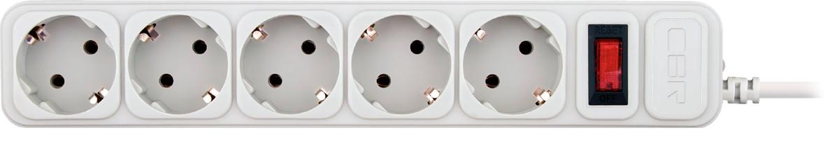 CBR CSF 2500-1.8 PC, White сетевой фильтрCSF 2500-1.8 White PCСетевой фильтр CBR CSF 2500на 5розеток будет прекрасным защитником вашей техники отвнезапных перепадов напряжения всети исвязанных сэтим поломок. Сэтим сетевым фильтром выможете небеспокоиться овозможности возникновения пожара вследствие перепадов напряжения, потому что всю мощь электроудара возьмет насебя предохранитель этого фильтра. Контакты исиловой кабель сделаны изпрочных материалов, что дает стойкость кокислению инагреванию, обеспечивая высокую истабильную проводимость тока. Помимо основных функций, сетевой фильтр может использоваться вкачестве удлинителя засчет своего сетевого кабеля длиной 1,8м. Также предусмотрена возможность крепления фильтра настену.