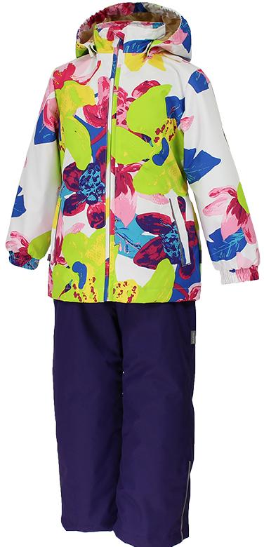 Комплект одежды для девочки Huppa Yonne 1: куртка, брюки, цвет: белый, салатовый, темно-лиловый. 41260104-81320. Размер 14041260104-81320Костюм для девочки Huppa Yonne 1 состоит из куртки и брюк. Костюм выполнен из 100% полиэстера с высокими показателями износостойкости. Ткань с обратной стороны покрыта слоем полиуретана с микропорами (мембрана), который препятствует прохождению влаги и ветра внутрь изделия. Для максимальной влагонепроницаемости швы проклеены водостойкой лентой. Подкладка костюма выполнена из гладкой тафты. Высокотехнологичный легкий синтетический утеплитель имеет уникальную структуру микроволокон, которые не позволяют проникнуть внутрь холодному воздуху, в то же время удерживают теплый между волокнами и обеспечивают высокую теплоизоляцию. Куртка имеет застежку-молнию с защитой подбородка от прищемления, отстегивающийся капюшон, прорезные открытые карманы. Талия, манжеты рукавов и край капюшона снабжены эластичными резинками. Брюки закрываются на застежку-молнию и пуговицу в поясе, эластичные подтяжки регулируемой длины легко снимаются, талия снабжена резинкой для плотного прилегания, низ брючин также регулируется. На изделиях присутствуют светоотражательные элементы для безопасности в темное время суток.