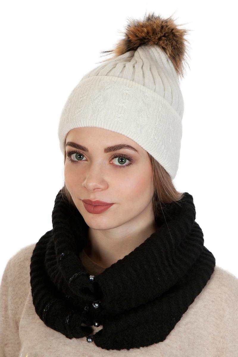 Шапка женская Laccom, цвет: белый. 103A. Размер универсальный103A