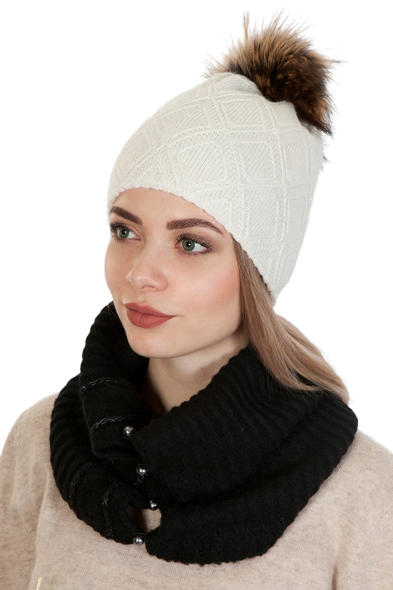 Шапка женская Laccom, цвет: белый. 104A. Размер универсальный104A
