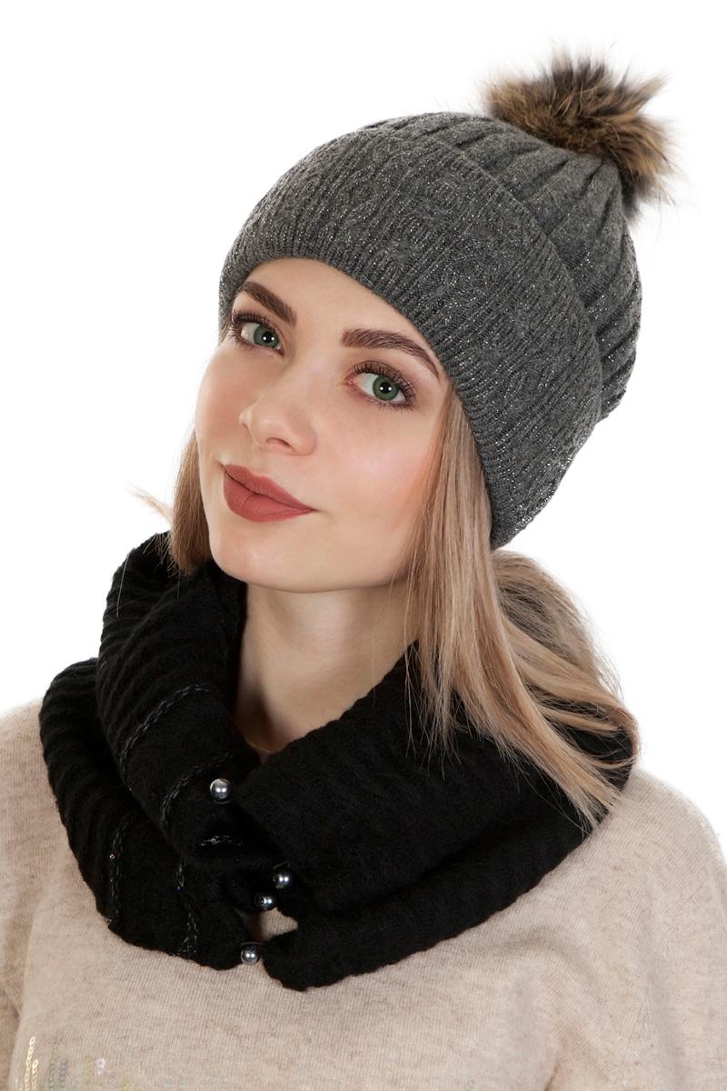 Шапка женская Laccom, цвет: серый. 103K. Размер универсальный103K