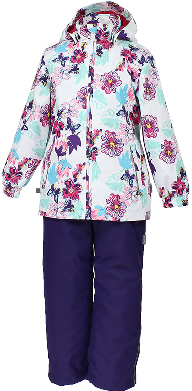 Комплект одежды для девочки Huppa Yonne 1: куртка, брюки, цвет: белый, фиолетовый. 41260104-81120. Размер 14041260104-81120Костюм для девочки Huppa Yonne 1 состоит из куртки и брюк. Костюм выполнен из 100% полиэстера с высокими показателями износостойкости. Ткань с обратной стороны покрыта слоем полиуретана с микропорами (мембрана), который препятствует прохождению влаги и ветра внутрь изделия. Для максимальной влагонепроницаемости швы проклеены водостойкой лентой. Подкладка костюма выполнена из гладкой тафты. Высокотехнологичный легкий синтетический утеплитель имеет уникальную структуру микроволокон, которые не позволяют проникнуть внутрь холодному воздуху, в то же время удерживают теплый между волокнами и обеспечивают высокую теплоизоляцию. Куртка имеет застежку-молнию с защитой подбородка от прищемления, отстегивающийся капюшон, прорезные открытые карманы. Талия, манжеты рукавов и край капюшона снабжены эластичными резинками. Брюки закрываются на застежку-молнию и пуговицу в поясе, эластичные подтяжки регулируемой длины легко снимаются, талия снабжена резинкой для плотного прилегания, низ брючин также регулируется. На изделиях присутствуют светоотражательные элементы для безопасности в темное время суток.