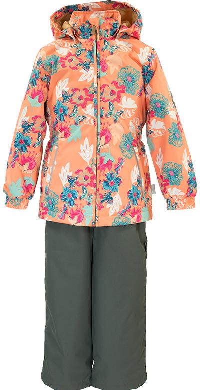Комплект одежды для девочки Huppa Yonne 1: куртка, брюки, цвет: коралловый, серый. 41260104-81133. Размер 152 комплект одежды для девочки huppa yonne 1 куртка брюки цвет белый салатовый темно лиловый 41260104 81320 размер 140