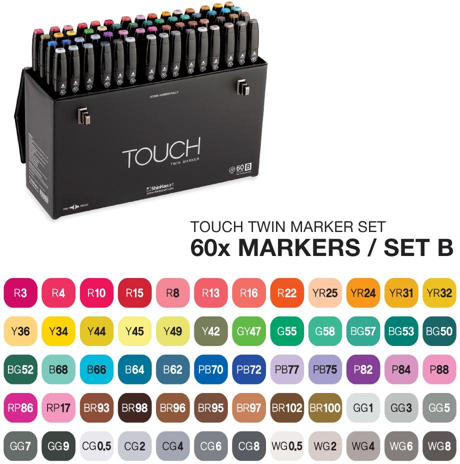 Touch Набор маркеров Twin 60 цветов (В)SH-1106031Корейские маркеры TOUCH TWIN были разработаны в 1992 году, и подходят для самых требовательных художников, иллюстраторов, дизайнеров и любителей скетчинга. Приятный на ощупь эргономический корпус позволяет держать контроль при рисовании точных и сложных скетчей. Два пера удобны для комбинированной работы: тонкое для проработки деталей и широкое плоское – для закрашивания больших фрагментов. Палитра спиртовых маркеров TOUCH насчитывает 204 прозрачных цвета — их можно накладывать друг на друга, смешивать, добиваясь как равномерных заливок, так и новых оттенков и градиентов. Можно использовать блендер для создания мягких переходов. Большое количество цветов дает возможность собрать палитру маркеров TOUCH для скетчинга на различные темы: городские архитектурные зарисовки, ботанический скетч, еда, fashion, автомобильный дизайн, леттеринг, комиксы манга и многое другое. Чернила TOUCH на спиртовой основе — нетоксичны и не портят поверхность бумаги в отличии от маркеров на водной основе. Скетчи маркерами TOUCH быстро высыхают на бумаге и становятся водостойкими, безкислотными. Компания Shinhan Art рекомендует: для достижения наилучшего результата в скетчинге, комбинировать маркеры с линерами TOUCH — для четких и неразмываемых контуров. Маркеры TOUCH подходят для использования на бумаге, картоне, фотографиях, ксерокопиях, пластике, дереве, ткани, холсте. Основные свойства маркеров TOUCH: - широкая цветовая палитра 204 цвета; - маркеры перезаправляемые, сменные перья; - спиртовые чернила, нетоксичные, быстросохнущие, бескислотные; - двусторонние маркеры, перо-кисть, широкое, тонкое; - удобный дизайн, легко контролировать процесс; - гарантия соответствия цвета; - сделаны в Корее;Набор 60 [B] TOUCH TWIN MARKER SET содержит цвета: R3, R4, R10, R15, R8, R13, R16, R22, YR25, YR24, YR31, YR32, Y36, Y34, Y44, Y45, Y49, Y42, GY47, G55, G58, BG57, BG53, BG50, BG52, B68, B66, B64, B62, PB70, PB72, PB77, PB75, P82, P84, P88, RP86, RP17, B