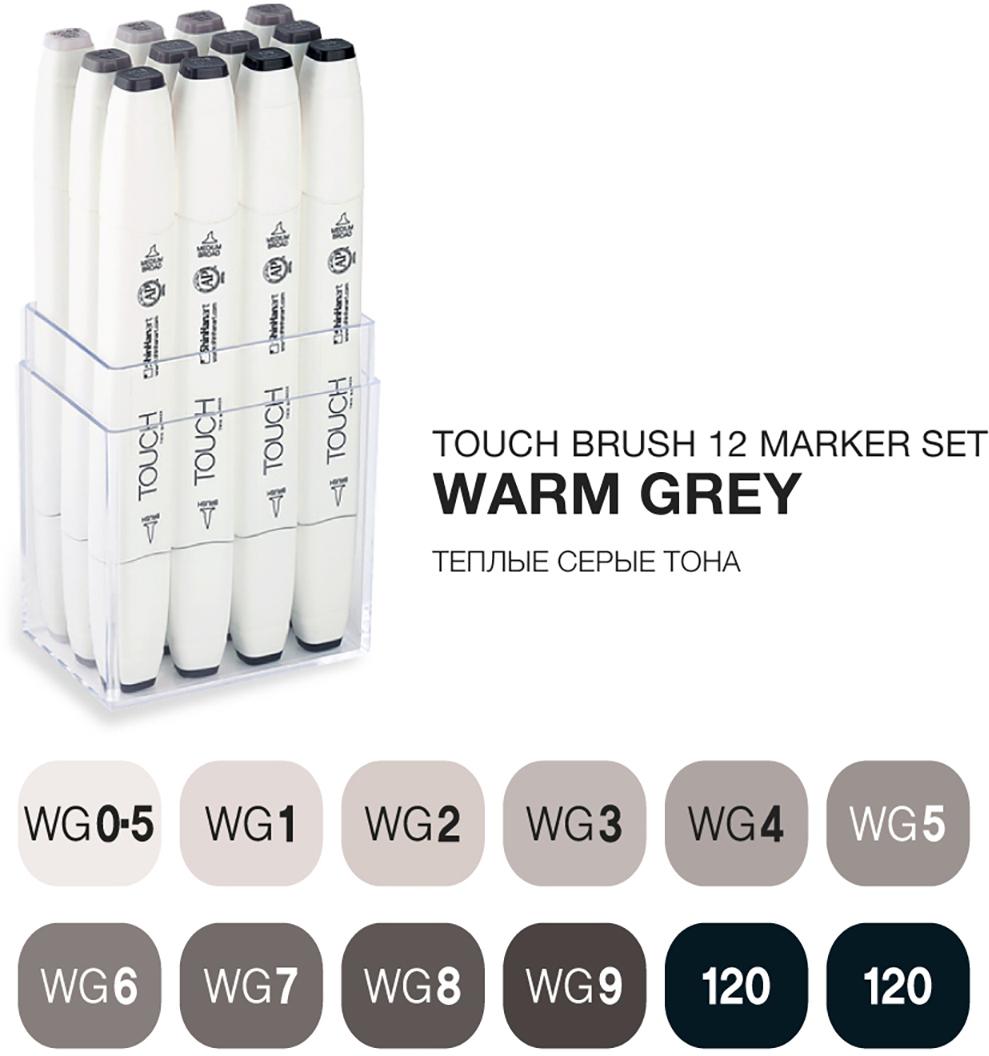 Touch Набор маркеров Brush 12 цветов теплые серые тонаSH-1211201Корейские маркеры TOUCH BRUSH подходят для самых требовательных художников, иллюстраторов, дизайнеров и любителей скетчинга. Приятный на ощупь эргономический корпус позволяет держать контроль при рисовании точных и сложных скетчей. Два пера удобны для комбинированной работы: тонкое для проработки деталей и широкое плоское – для закрашивания больших фрагментов. Маркеры серии TOUCH BRUSH выпускаются с пером-кистью, которая имитирует настоящую акварельную кисть художника. Палитра спиртовых маркеров TOUCH насчитывает 204 прозрачных цвета — их можно накладывать друг на друга, смешивать, добиваясь как равномерных заливок, так и новых оттенков и градиентов. Можно использовать блендер для создания мягких переходов. Большое количество цветов дает возможность собрать палитру маркеров TOUCH для скетчинга на различные темы: городские архитектурные зарисовки, ботанический скетч, еда, fashion, автомобильный дизайн, леттеринг, комиксы манга и многое другое. Чернила TOUCH на спиртовой основе — нетоксичны и не портят поверхность бумаги в отличии от маркеров на водной основе. Скетчи маркерами TOUCH быстро высыхают на бумаге и становятся водостойкими, безкислотными. Компания Shinhan Art рекомендует: для достижения наилучшего результата в скетчинге, комбинировать маркеры с линерами TOUCH — для четких и неразмываемых контуров. Маркеры TOUCH подходят для использования на бумаге, картоне, фотографиях, ксерокопиях, пластике, дереве, ткани, холсте. Основные свойства маркеров TOUCH: - широкая цветовая палитра 204 цвета; - маркеры перезаправляемые, сменные перья; - спиртовые чернила, нетоксичные, быстросохнущие, бескислотные; - двусторонние маркеры, перо-кисть, широкое, тонкое; - удобный дизайн, легко контролировать процесс; - гарантия соответствия цвета; - сделаны в Корее;Набор 12 MARKER SET [WARM GREY] содержит цвета: WG0.5, WG1, WG2, WG3, WG4, WG5, WG6, WG7, WG8, WG9, 120, 120.