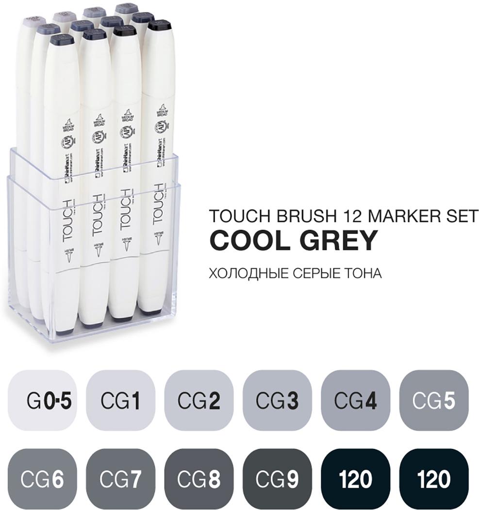 Touch Набор маркеров Brush 12 цветов холодные серые тонаSH-1211210Корейские маркеры TOUCH BRUSH подходят для самых требовательных художников, иллюстраторов, дизайнеров и любителей скетчинга. Приятный на ощупь эргономический корпус позволяет держать контроль при рисовании точных и сложных скетчей. Два пера удобны для комбинированной работы: тонкое для проработки деталей и широкое плоское – для закрашивания больших фрагментов. Маркеры серии TOUCH BRUSH выпускаются с пером-кистью, которая имитирует настоящую акварельную кисть художника. Палитра спиртовых маркеров TOUCH насчитывает 204 прозрачных цвета — их можно накладывать друг на друга, смешивать, добиваясь как равномерных заливок, так и новых оттенков и градиентов. Можно использовать блендер для создания мягких переходов. Большое количество цветов дает возможность собрать палитру маркеров TOUCH для скетчинга на различные темы: городские архитектурные зарисовки, ботанический скетч, еда, fashion, автомобильный дизайн, леттеринг, комиксы манга и многое другое. Чернила TOUCH на спиртовой основе — нетоксичны и не портят поверхность бумаги в отличии от маркеров на водной основе. Скетчи маркерами TOUCH быстро высыхают на бумаге и становятся водостойкими, безкислотными. Компания Shinhan Art рекомендует: для достижения наилучшего результата в скетчинге, комбинировать маркеры с линерами TOUCH — для четких и неразмываемых контуров. Маркеры TOUCH подходят для использования на бумаге, картоне, фотографиях, ксерокопиях, пластике, дереве, ткани, холсте. Основные свойства маркеров TOUCH: - широкая цветовая палитра 204 цвета; - маркеры перезаправляемые, сменные перья; - спиртовые чернила, нетоксичные, быстросохнущие, бескислотные; - двусторонние маркеры, перо-кисть, широкое, тонкое; - удобный дизайн, легко контролировать процесс; - гарантия соответствия цвета; - сделаны в Корее;Набор 12 MARKER SET [COOL GREY] содержит цвета: CG0.5, CG1, CG2, CG3, CG4, CG5, CG6, CG7, CG8, CG9, 120, 120.