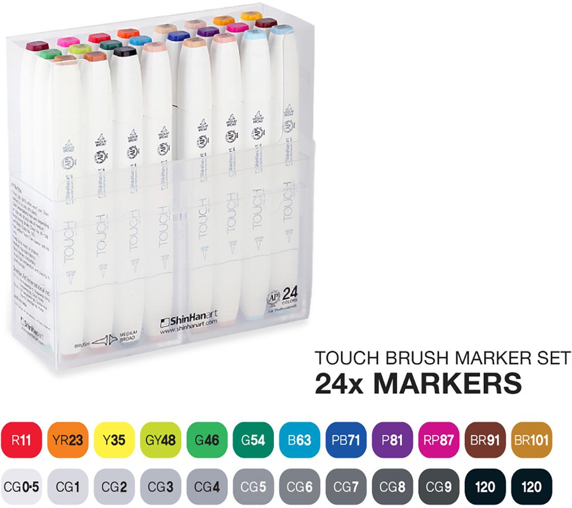 Touch Набор маркеров Brush 24 цветаSH-1212400Корейские маркеры TOUCH BRUSH подходят для самых требовательных художников, иллюстраторов, дизайнеров и любителей скетчинга. Приятный на ощупь эргономический корпус позволяет держать контроль при рисовании точных и сложных скетчей. Два пера удобны для комбинированной работы: тонкое для проработки деталей и широкое плоское – для закрашивания больших фрагментов. Маркеры серии TOUCH BRUSH выпускаются с пером-кистью, которая имитирует настоящую акварельную кисть художника. Палитра спиртовых маркеров TOUCH насчитывает 204 прозрачных цвета — их можно накладывать друг на друга, смешивать, добиваясь как равномерных заливок, так и новых оттенков и градиентов. Можно использовать блендер для создания мягких переходов. Большое количество цветов дает возможность собрать палитру маркеров TOUCH для скетчинга на различные темы: городские архитектурные зарисовки, ботанический скетч, еда, fashion, автомобильный дизайн, леттеринг, комиксы манга и многое другое. Чернила TOUCH на спиртовой основе — нетоксичны и не портят поверхность бумаги в отличии от маркеров на водной основе. Скетчи маркерами TOUCH быстро высыхают на бумаге и становятся водостойкими, безкислотными. Компания Shinhan Art рекомендует: для достижения наилучшего результата в скетчинге, комбинировать маркеры с линерами TOUCH — для четких и неразмываемых контуров. Маркеры TOUCH подходят для использования на бумаге, картоне, фотографиях, ксерокопиях, пластике, дереве, ткани, холсте. Основные свойства маркеров TOUCH: - широкая цветовая палитра 204 цвета; - маркеры перезаправляемые, сменные перья; - спиртовые чернила, нетоксичные, быстросохнущие, бескислотные; - двусторонние маркеры, перо-кисть, широкое, тонкое; - удобный дизайн, легко контролировать процесс; - гарантия соответствия цвета; - сделаны в Корее;Набор 24 TOUCH BRUSH MARKER SET содержит цвета: R2, R11, R135, R131, YR23, YR27, YR26, YR133, Y34, Y35, GY48, G46, G54, B143, B63, PB71, PB144, P81, RP87, RP6, BR91, BR103, BR101