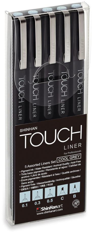 Touch Набор капиллярных ручек Liner цвет чернил холодный серый 3 штSH-4101205ShinHan TOUCH LINER - наиболее совершенные линеры для профессионалов, на основе пигментных чернил архивного качества, идеально подходящих для скетчинга, иллюстраций, точного рисования, графического дизайна и работы с документами. Черные чернила в линерах ShinHan TOUCH не размазываются, водостойкие, беcкислотные, архивного качества, светостойкие, не содержат ксилол и соответствуют международному стандарту ASTM D4236. Черные линеры TOUCH доступны в девяти размерах пишущего пера: от 0.05 мм до 0.8 мм, а также с кистевым и плоским пером. Цветные линеры TOUCH доступны с пером-кистью и тонким пером 0.1 мм для точной работы. Разновидности толщины и формы пера линеров TOUCH позволяют удовлетворить самые требовательные запросы художников и дизайнеров. Перо-кисть и скошенное перо также дают возможность работы над сложными задачами, которые ранее были не доступны.Для достижения максимального качества рисования мы рекомендуем использовать линеры TOUCH совместно с маркерами TOUCH TWIN и TOUCH BRUSH. ВАЖНО: при совместном использовании с маркерами TOUCH линеры не текут и не размазываются даже при рисовании поверх контура. Линеры TOUCH сертифицированы ACMI (Arts & Creative Materials Institute, США). В наборе 5 линеров с размером пера – 0.1, 0.3 и 0.5 мм, перо-кисть, скошенное перо. Цвет: холодный серый.