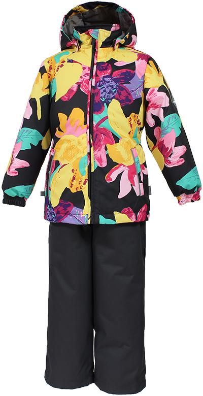 Комплект одежды для девочки Huppa Yonne 1: куртка, брюки, цвет: темно-серый, желтый. 41260104-81318. Размер 152 комплект одежды для девочки huppa yonne 1 куртка брюки цвет белый салатовый темно лиловый 41260104 81320 размер 140