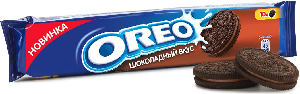 Oreo печенье с какао и начинкой со вкусом шоколада, 95 г конфэшн минутки вафли со вкусом сливок айриш крим 165 г