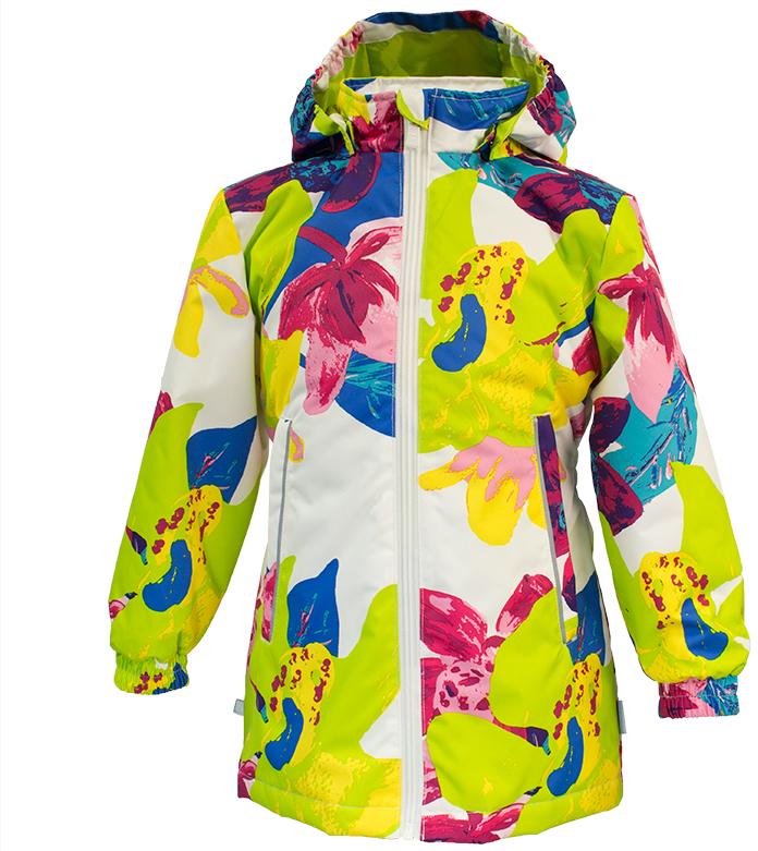 Куртка для девочки Huppa June 1, цвет: белый, салатовый. 17880104-81320. Размер 10417880104-81320Демисезонная куртка для девочек June 1. Мембранная ткань отличается высокими водо- и ветронепроницаемыми качествами. Куртка с утеплителем 40 г подходит для ношения при температуре воздуха от +5 до +15°С. Мягкая подкладка из флиса сохраняет тепло тела. Воротник-стойка, застежка на молнию. Капюшон отстегивается. По бокам он укреплен резинкой для лучшей защиты головы и ушей от ветра и дождя. Манжеты с двойной резинкой. Карманы в области талии застегиваются на молнию. На спинке вшит эластичный пояс. Светоотражающие канты и детали служат для безопасности ребенка.