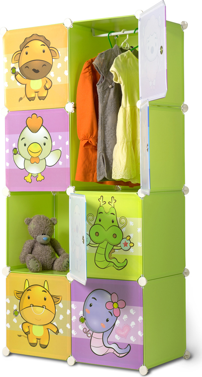 """Шкаф Ruges """"Кубус"""" - временная мебель, конструкцию которой можно менять по своему желанию -  идеальное решение для детской комнаты, дачи, арендованного жилья. В комплектации 8 кубов  35 х 35 см. Вы можете собрать их вместе, а можете использовать куб самостоятельно, как мини- тумбу или ящик для игрушек.  Шкаф """"Кубус"""" подходит для ванной, для балкона, даже для открытой веранды - шкаф не  промокает и легко моется. И как мы любим - мебель собирается без инструментов!  Хороший  подарок для тех, кто уже переехал в новое жилье, а стационарную мебель еще не купил.  Материал: металл, ПВХ. Комплектация: платформа - 32 шт; боковое крепление - 32 шт;  магнит - 16 шт; деревянный молоток - 1 шт; перекладина для вешалок - 1 шт."""