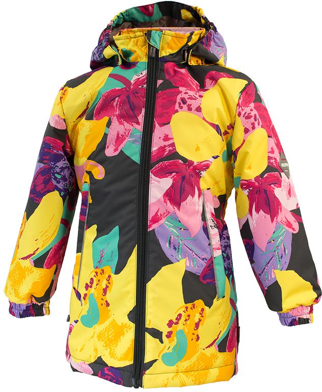 Куртка для девочки Huppa June 1, цвет: темно-серый, желтый. 17880104-81318. Размер 11617880104-81318Демисезонная куртка для девочек June 1. Мембранная ткань отличается высокими водо- и ветронепроницаемыми качествами. Куртка с утеплителем 40 г подходит для ношения при температуре воздуха от +5 до +15°С. Мягкая подкладка из флиса сохраняет тепло тела. Воротник-стойка, застежка на молнию. Капюшон отстегивается. По бокам он укреплен резинкой для лучшей защиты головы и ушей от ветра и дождя. Манжеты с двойной резинкой. Карманы в области талии застегиваются на молнию. На спинке вшит эластичный пояс. Светоотражающие канты и детали служат для безопасности ребенка.