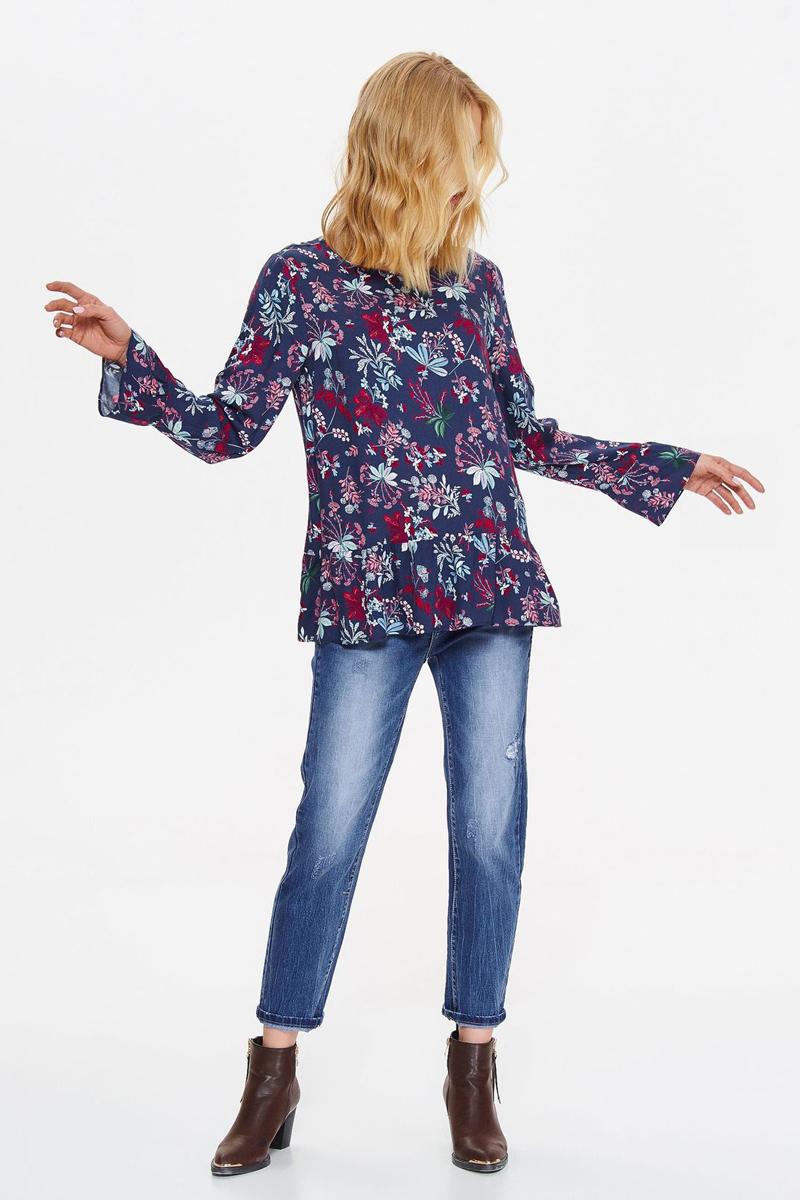 Блузка женская Top Secret, цвет: синий. SBD0822GR. Размер 42 (50)SBD0822GRБлузка от Top Secret выполнена из натуральной вискозы. Модель с длинными рукавами и круглым вырезом горловины. Рукава к низу расклешены.