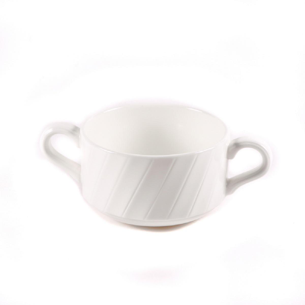 Бульонница Nuova Cer Mayfair, цвет: белый, 280 млB1653Бульонница Nuova Cer Mayfair- новый уникальный продукт на рынке фарфора, производится из материала, в состав которого входит алюминиум(глинозем) в виде порошка, что придает фарфору уникальные свойства: белоснежный цвет, как на поверхности, так и на изломе, более тонкие иизящные формы, так как добавление металла делает фарфоровую массу более пластичной, устойчивость к сколам и царапинам.Возможный перепад температур при эксплуатации до 200 градусов!Фарфор покрывается глазурью, что характеризует эту посуду как продукт высшего класса.Идеально подходит для использования в микроволновой печи и посудомоечной машине.