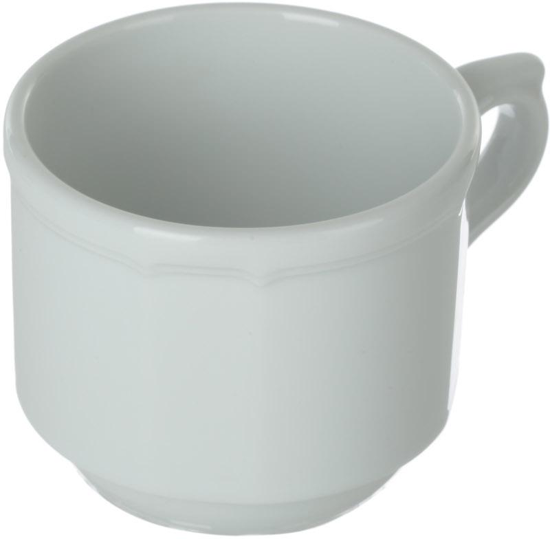 Чашка чайная Nuova Cer, 200 млРП-3211ROYAL новый уникальный продукт на рынке фарфора производится из материала, в состав которого входит алюминиум (глинозем) в виде порошка, что придаёт фарфору уникальные свойства: белоснежный цвет, как на поверхности, так и на изломе, более тонкие и изящные формы, так как добавление металла делает фарфоровую массу более пластичной, устойчивость к сколам и царапинам. Возможный перепад температур при эксплуатации до 200 градусов! Фарфор покрывается глазурью, что характеризует эту посуду как продукт высшего класса. Идеально подходит для использования в микроволновой печи и посудомоечной машине