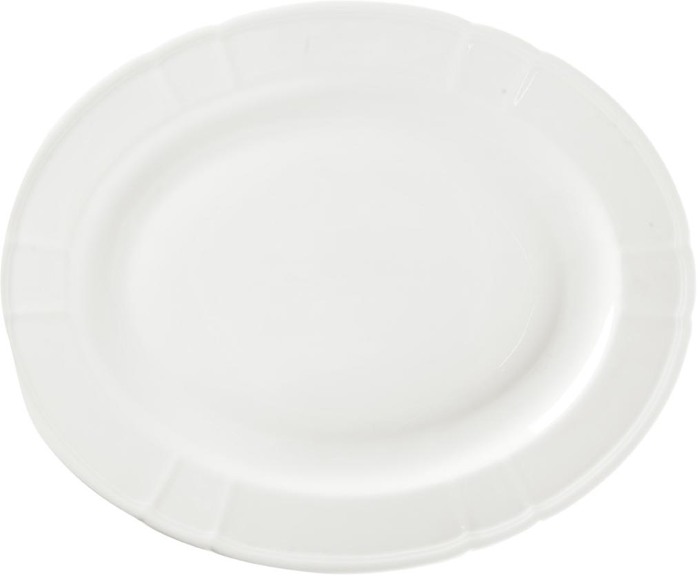 Блюдо Nuova Cer, овальное, 32 смРП-3234ROYAL новый уникальный продукт на рынке фарфора производится из материала, в состав которого входит алюминиум (глинозем) в виде порошка, что придаёт фарфору уникальные свойства: белоснежный цвет, как на поверхности, так и на изломе, более тонкие и изящные формы, так как добавление металла делает фарфоровую массу более пластичной, устойчивость к сколам и царапинам. Возможный перепад температур при эксплуатации до 200 градусов! Фарфор покрывается глазурью, что характеризует эту посуду как продукт высшего класса. Идеально подходит для использования в микроволновой печи и посудомоечной машине
