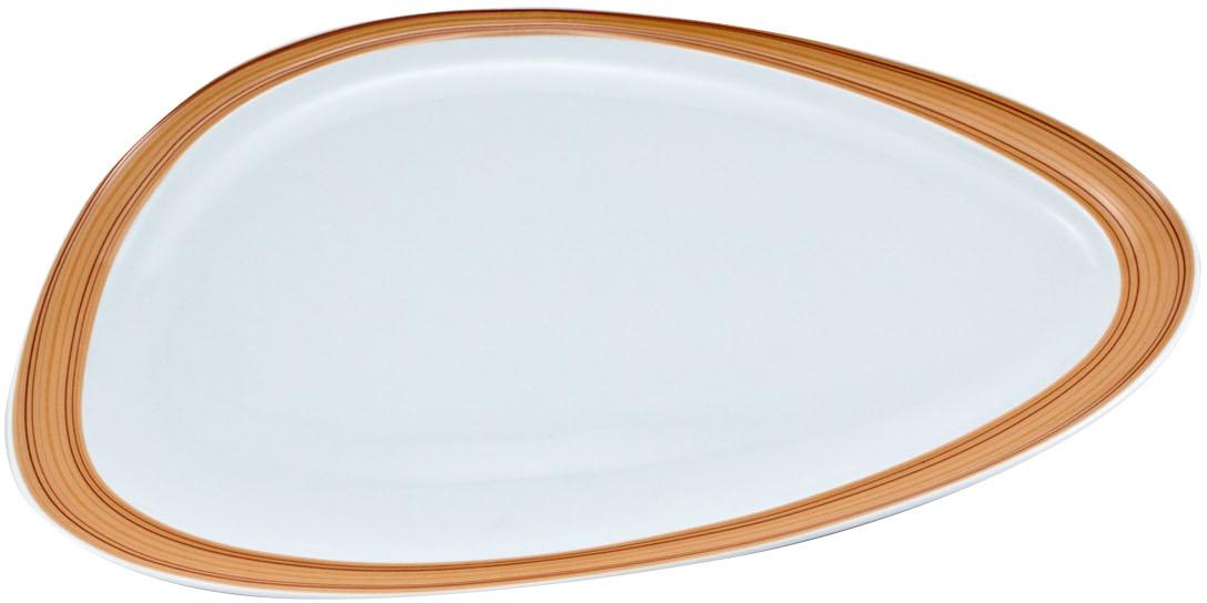 Блюдо Nuova Cer Муд Дерево, овальное, 23,5 х 41 смРП-5607ROYAL новый уникальный продукт на рынке фарфора производится из материала, в состав которого входит алюминиум (глинозем) в виде порошка, что придаёт фарфору уникальные свойства: белоснежный цвет, как на поверхности, так и на изломе, более тонкие и изящные формы, так как добавление металла делает фарфоровую массу более пластичной, устойчивость к сколам и царапинам. Возможный перепад температур при эксплуатации до 200 градусов! Фарфор покрывается глазурью, что характеризует эту посуду как продукт высшего класса. Идеально подходит для использования в микроволновой печи и посудомоечной машине