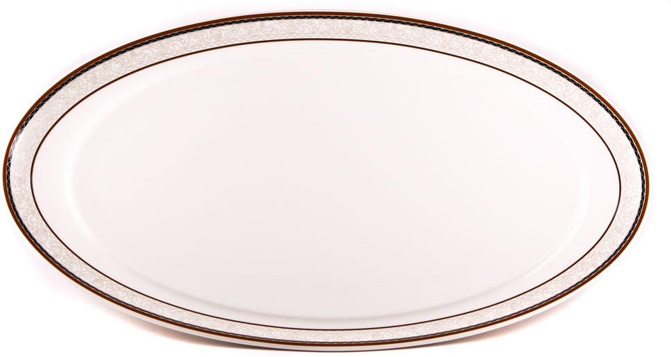 Блюдо Royal Porcelain Кассие, овальное, цвет: белый, черный, 20 х 36 смРП-CS8711Блюдо Royal Porcelain Кассие- новый уникальный продукт на рынке фарфора, производится из материала, в состав которого входит алюминиум(глинозем) в виде порошка, что придает фарфору уникальные свойства: белоснежный цвет, как на поверхности, так и на изломе, более тонкие иизящные формы, так как добавление металла делает фарфоровую массу более пластичной, устойчивость к сколам и царапинам.Возможный перепад температур при эксплуатации до 200 градусов!Фарфор покрывается глазурью, что характеризует эту посуду как продукт высшего класса.Идеально подходит для использования в микроволновой печи и посудомоечной машине.