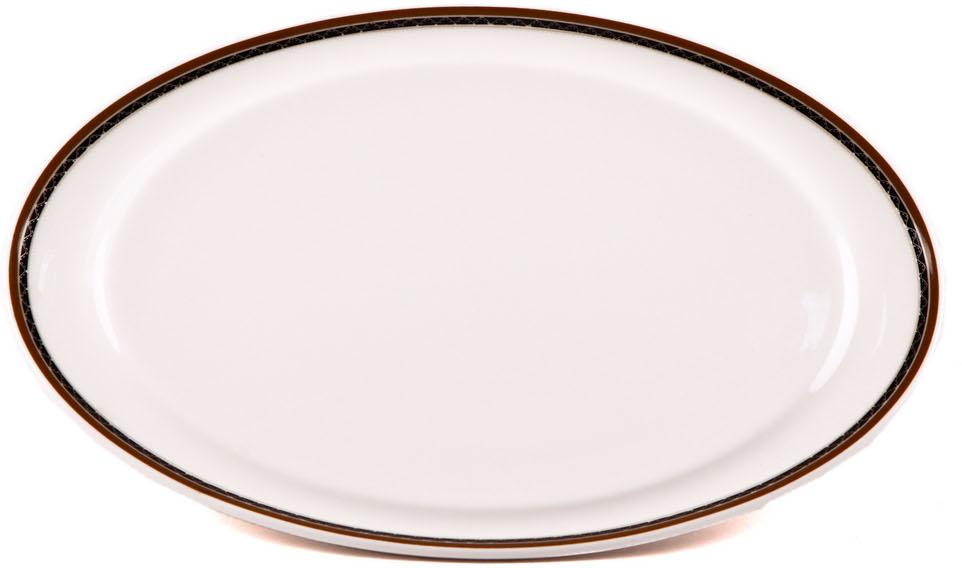 Блюдо Royal Porcelain Кассие, овальное, цвет: белый, черный, 17,5 х 32 смРП-CS8712Блюдо Royal Porcelain Кассие- новый уникальный продукт на рынке фарфора, производится из материала, в состав которого входит алюминиум(глинозем) в виде порошка, что придает фарфору уникальные свойства: белоснежный цвет, как на поверхности, так и на изломе, более тонкие иизящные формы, так как добавление металла делает фарфоровую массу более пластичной, устойчивость к сколам и царапинам.Возможный перепад температур при эксплуатации до 200 градусов!Фарфор покрывается глазурью, что характеризует эту посуду как продукт высшего класса.Идеально подходит для использования в микроволновой печи и посудомоечной машине.
