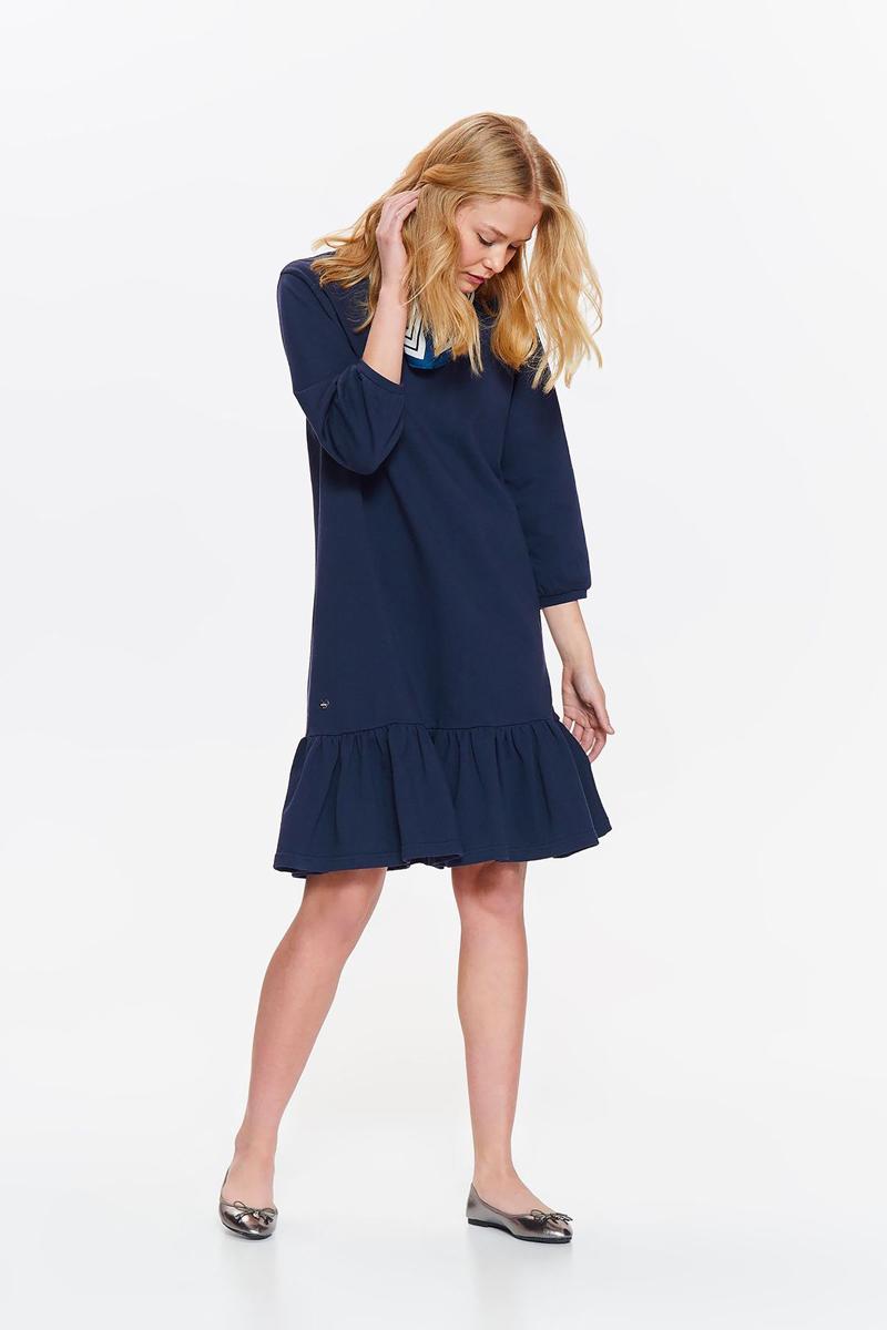 Платье Drywash, цвет: темно-синий. DSU0082GR. Размер M (46)DSU0082GRОригинальное платье Drywash станет отличным дополнением повседневного гардероба. Модель свободного кроя с рукавами длиной 3/4 изготовлена из мягкого материала и оформлена широким воланом по низу. Круглый вырез горловины и манжеты рукавов дополнены мягкой окантовкой. Уютная ткань на основе хлопка и полиэстера приятна на ощупь и комфортна в носке. Модель поможет создать модный образ и подойдет для офиса, прогулок или дружеских встреч.