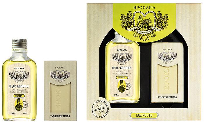Brocard Подарочный набор для мужчин Бодрость: одеколон, 100 мл + мыло, 100 г