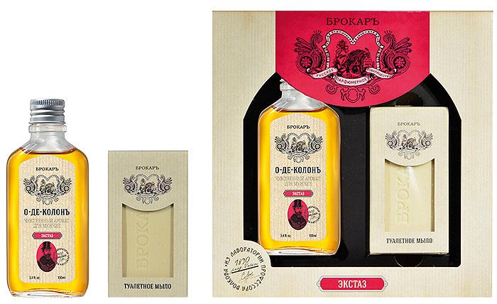 Brocard Подарочный набор для мужчин Экстаз: одеколон, 100 мл + мыло, 100 г