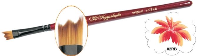Roubloff Кисть 02RB синтетика веерная № 2Ж01-02,0RBКисть веерная из синтетики с двумя уровнями выставки волоса на короткой красной фигурной ручке.